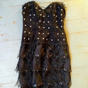 Vintage Lillie Rubin beaded wool flapper dress